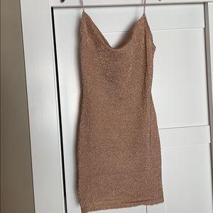 Breathe Taking Metallic Mini Dress- Fashion Nova